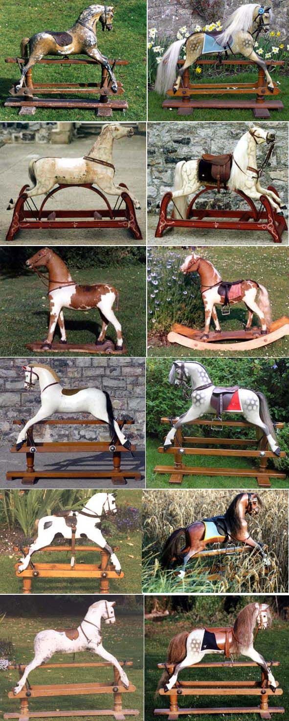 Rocking horses before and after restoration